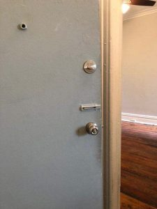 Front View of Door latch knob and lock